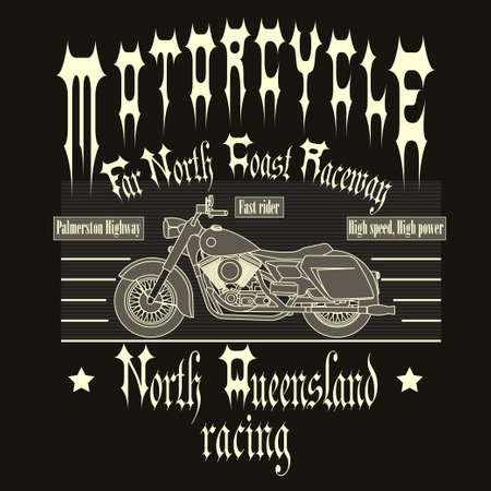 motorcycle racing: Motorcycle Racing Typography Graphics. Old school, vintage bike. T-shirt Design, vector illustration