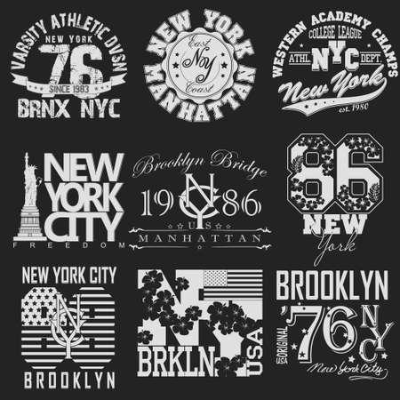imprenta: Conjunto de la insignia de la ciudad de Nueva York de la tipograf�a gr�fica, Impresi�n en camisetas Dise�o. NYC desgaste original, impresi�n del vintage para la ropa deportiva - ilustraci�n vectorial