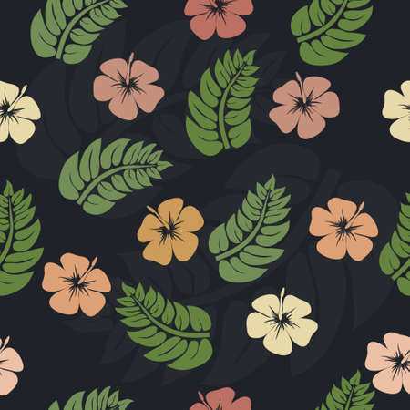 ferns and orchids: Orchids flowers and green leaves - floral seamless pattern, vector