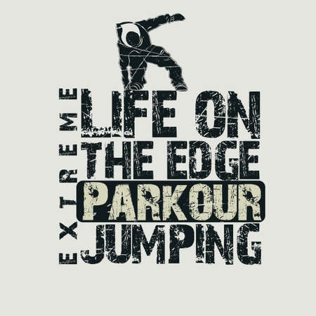 leapfrog: Parkour concept Fashion Typography, sport emblem design, urban graphic Print label - vector illustration Illustration