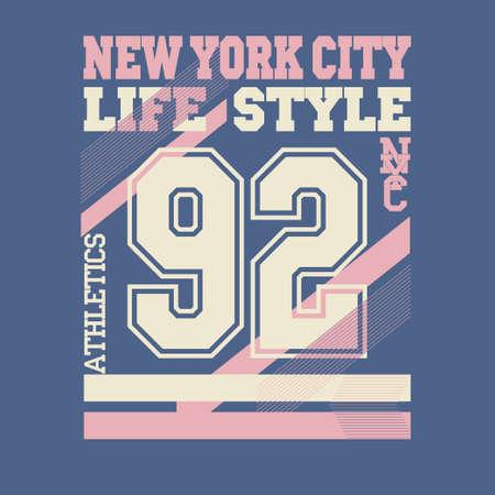 números: Logotipo de la ciudad de Nueva York de la tipograf�a gr�fica, Impresi�n en camisetas Dise�o. NYC desgaste original, impresi�n del vintage para la ropa deportiva - ilustraci�n vectorial