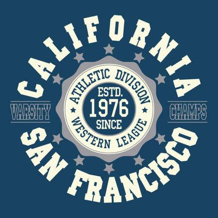 California T-shirt fashion Typography, sport emblem design, San Francisco league graphic Print label - vector illustration
