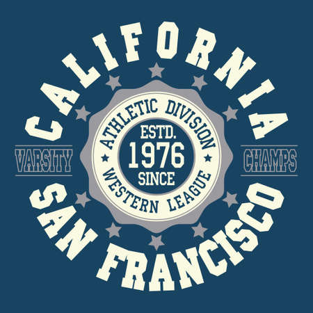 California T-shirt fashion Typography, sport emblem design, San Francisco league graphic Print label - vector illustration