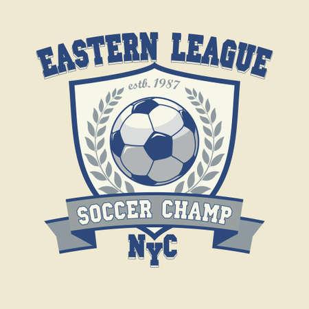 Soccer Football Logo, Sport Cup Design, Team emblem, T-shirt print Template, Tournament Badge - vector