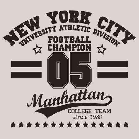 New York City Typography Graphics logo, T-shirt Printing Sport Number Design, Football original wear, Vintage Print for sportswear apparel. vector