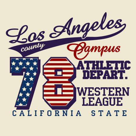 California T-shirt fashion Typography, sport Campus emblem design, Los Angeles graphic Print label - vector illustration