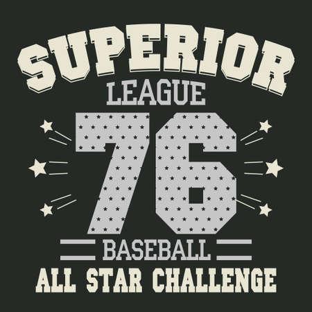 baseball cartoon: Baseball t-shirt graphic design. All Stars Championship typography emblem - vector illustration