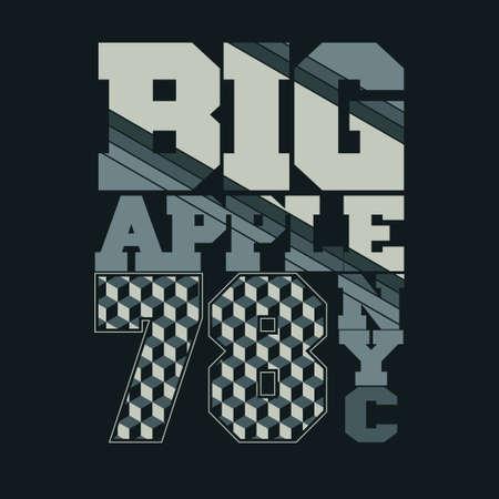 big apple: New York typography, Big Apple. T-shirt design, sport emblem - vector art Illustration