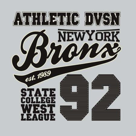 bronx: Fashion Typography Graphics. New York Sport T-shirt Design, vector illustration