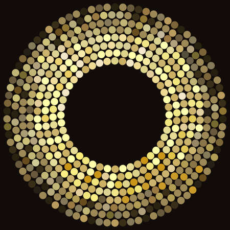 Golden disco lights frame, abstract mosaic background, concentric circles of glowing pixels - vector illustration
