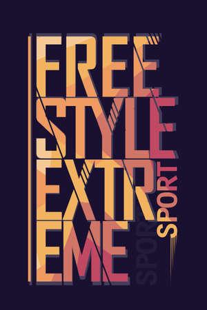camisa: Etiqueta Extreme Freestyle deporte Tipografía, skate emblema, surf diseño de la camiseta, snowboard estampado gráfico - ilustración vectorial Vectores