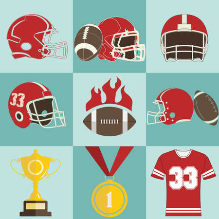 football helmet: Football game icons, Sport game emblems and Logo - vectors Illustration