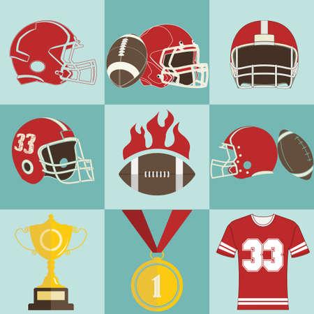 football players: Iconos de juegos de fútbol, ??emblemas juego Deporte y Logo - vectores