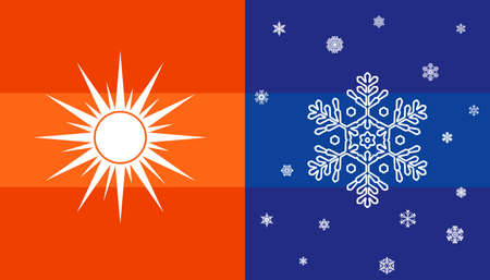 hot temperature: Hot and cold, sun and snowflake, climate symbol for conditioner, Temperature icons. Vector illustration.