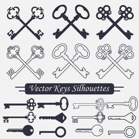 latchkey: Crossed keys set, linear and silhouettes label, decorative design - vector illustration