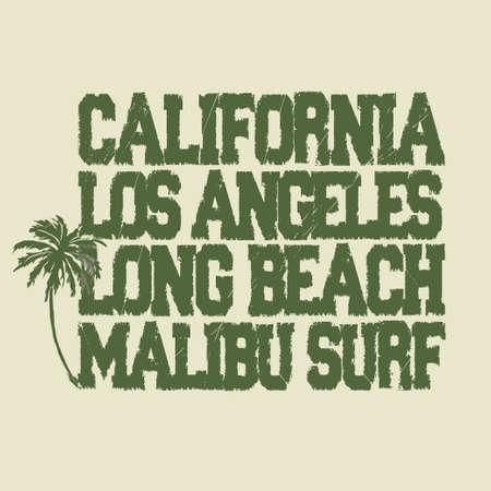 malibu: Surfing t-shirt graphic design. Malibu surfwear typography emblem. Vector template concept Illustration