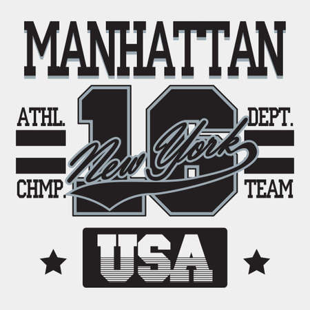 New York City Typography Graphics, Manhattan T-shirt Printing Design, USA original wear, Vintage Print for sportswear apparel - vector illustration