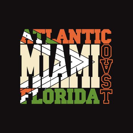 miami florida: Miami Florida T-shirt fashion Typography label, sport emblem design, graphic print - vector illustration