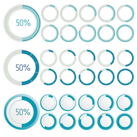 no color: Round Loading Progress Bars, indicators set. no transparency, easy to change color. Vector illustration