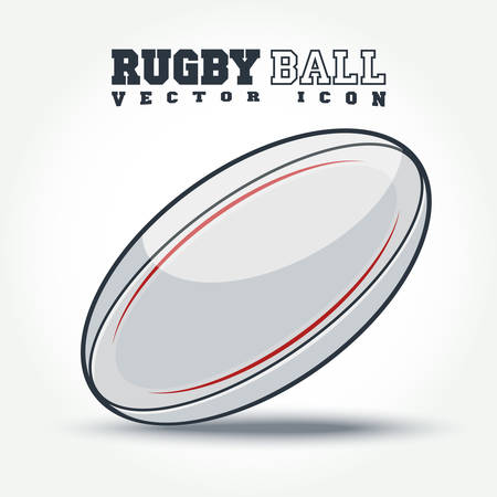 kick ball: Rugby Ball icon with shadow on the floor - vector