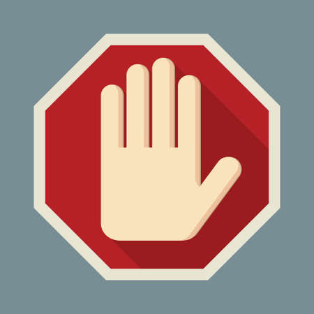 STOP Red octagonal stop hand sign for prohibited activities. Flat design. Vector illustration