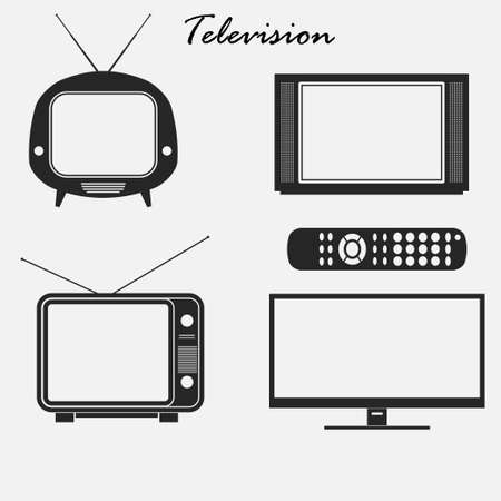 flat screen tv: Television icons set, Retro and flat screen monitor TV, Media technology