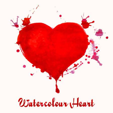 romance: Watercolor heart with splashes -  romance vector illustration Illustration