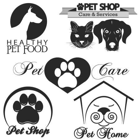 Pet shop logotipo, perro y gato silueta
