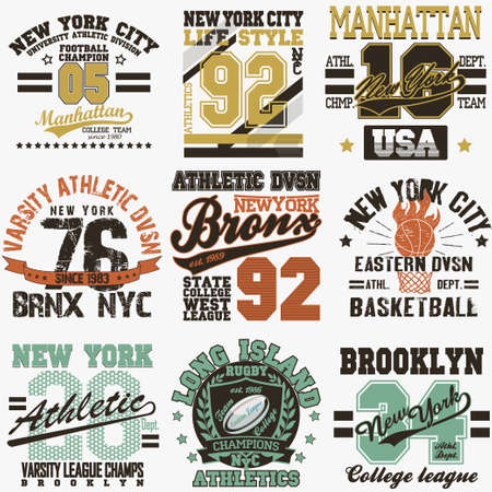 impresion: Conjunto de la insignia de la ciudad de Nueva York de la tipografía gráfica, Impresión en camisetas Diseño. NYC desgaste original, impresión del vintage para la ropa deportiva - ilustración vectorial