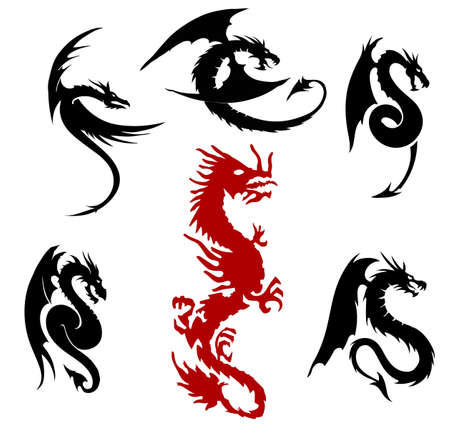 dragon silhouettes set, isolated on the white background Ilustracja