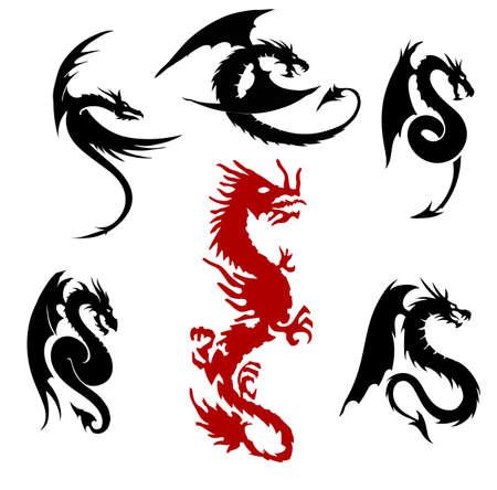 dragones: siluetas drag�n fij�, aislado en el fondo blanco
