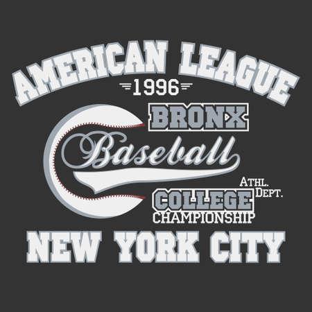 bronx: Baseball emblem - graphics for t-shirt, Vector Lettering sport emblem Illustration