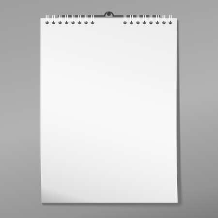 calendar: Calendar on the wall, blank document with shadow, white page notebook with binder