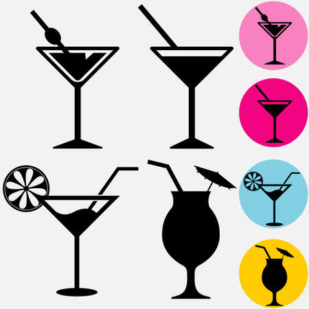 Cocktail icons. A glass for drinks silhouette with drinking straw. Vector