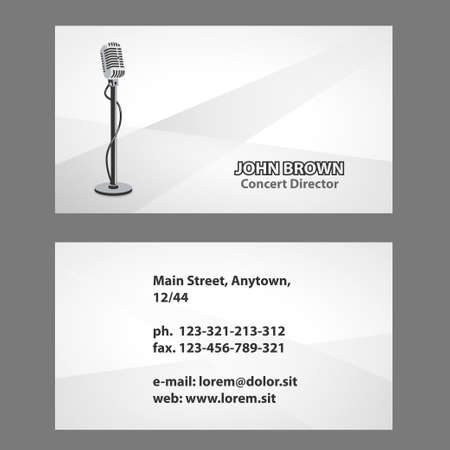 presenter: Artiste business card with vintage microphone, actor of theater, Concert Director, radio presenter Illustration