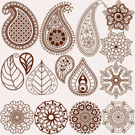 mhendi: Paisley pattern, Oriental leaf, floral elements set. Illustration