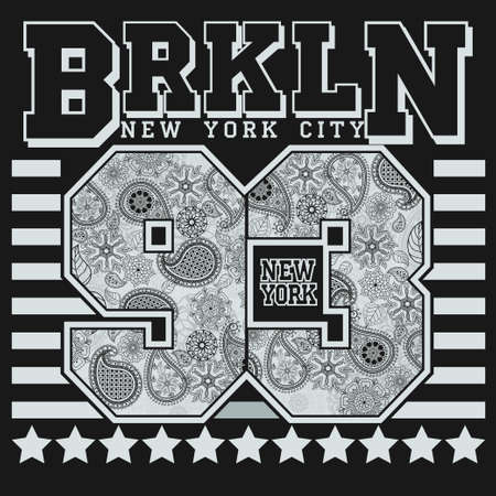 New York T-shirt fashion Typography, sport emblem design, Number with floral ornament, graphic Print label