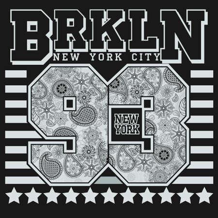 New York T-shirt de Typographie de la mode, le design de l'emblème du sport, son numéro d'ornement floral, graphique étiquette Imprimer Banque d'images - 47560376