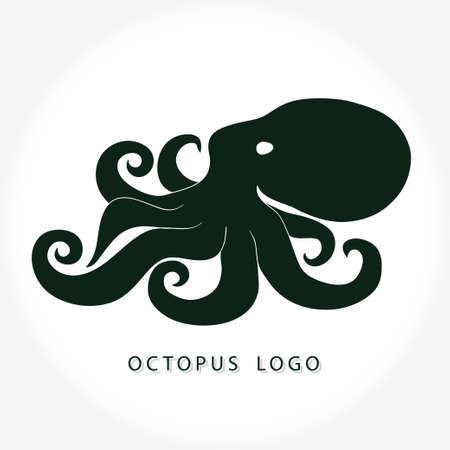 Octopus giant with spiral tentacles logo . Wild ocean life vector design.