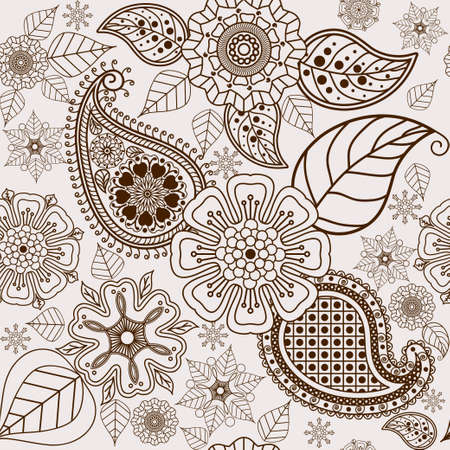 henna design: Paisley pattern, seamless floral background. Henna design. Doodles Abstract Vector