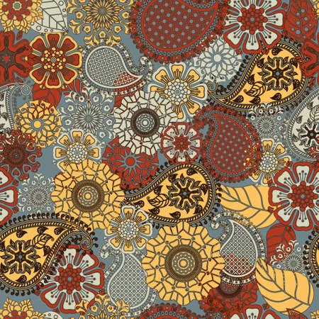 encajes: Paisley pattern, seamless floral background. Doodles Abstract Vector
