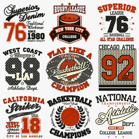 baloncesto: Deporte Tipograf�a Gr�ficos conjunto logo, Impresi�n en camisetas Dise�o. Vectores