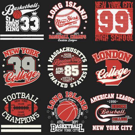 Sport Typography Graphics logo set, T-shirt Printing Design. Athletic original wear, Vintage Print for sportswear apparel Vettoriali