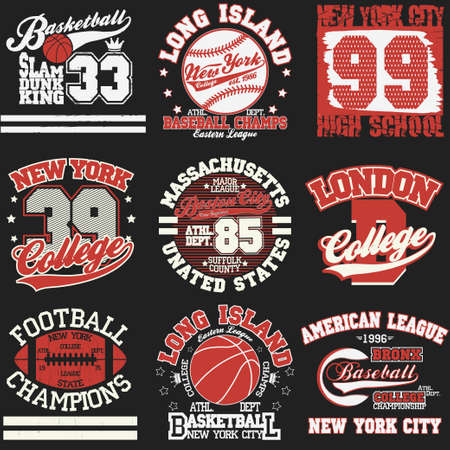 Sport Typografie Graphics logo set, T-shirt Printing Design. Athletic originele slijtage, Vintage Print voor sportkleding kleding Stock Illustratie