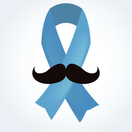 Light blue ribbon with mustache. Prostate cancer ribbon awareness. Vector