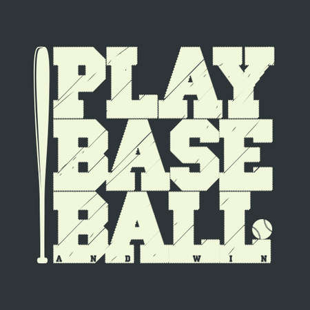 Baseball emblem - graphics for t-shirt, Vector Lettering sport sign