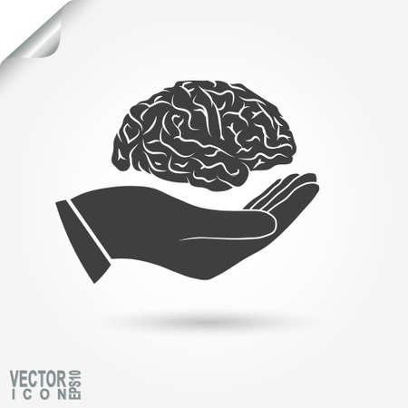conocimiento: Cerebro humano en la mano, icono conocimientos. Vector