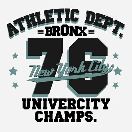college basketball: New York City Typography Graphics, T-shirt Printing Design. NYC original wear, Vintage Print for sportswear apparel. Vector