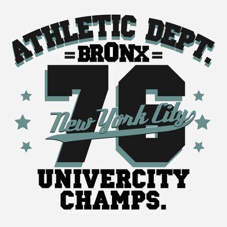 bronx: New York City Typography Graphics, T-shirt Printing Design. NYC original wear, Vintage Print for sportswear apparel. Vector