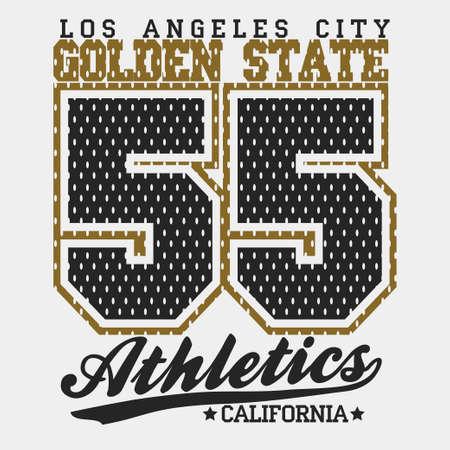 California Typography Graphics, T-shirt Printing Design, original wear, Vintage Print for sportswear apparel. Vector Illustration